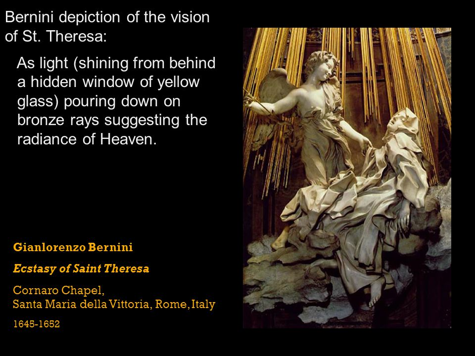 Bernini depiction of the vision of St. Theresa: