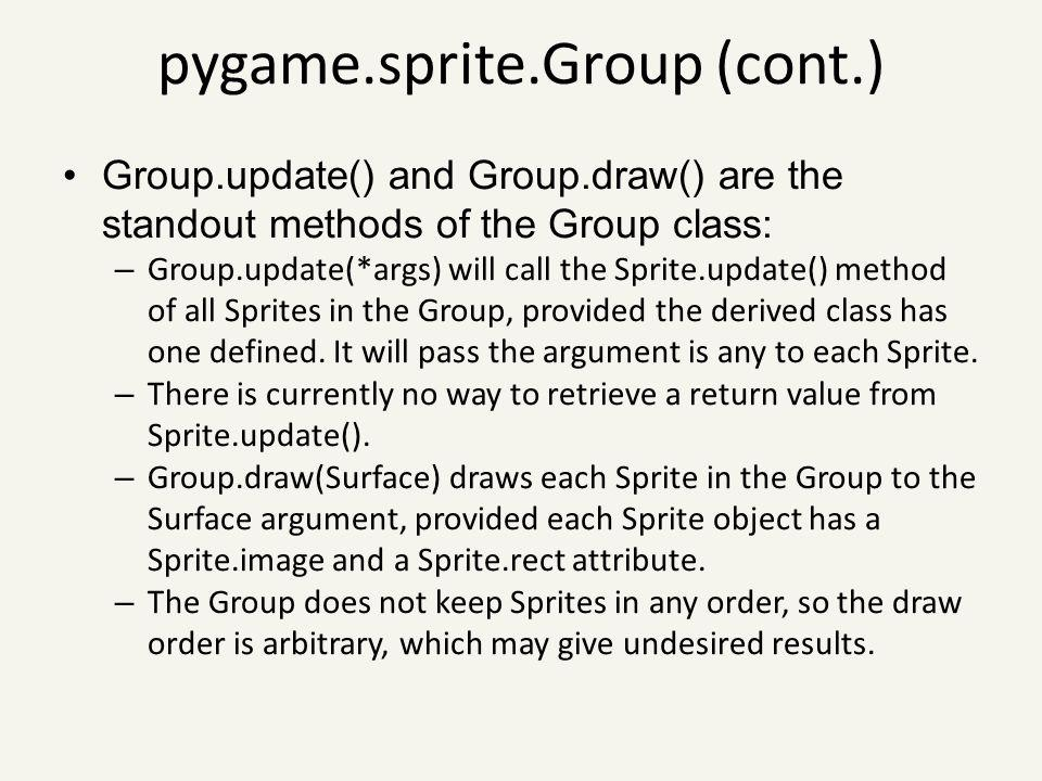 pygame.sprite.Group (cont.)