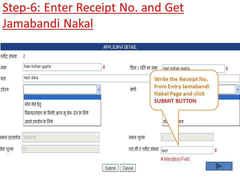 Step-6: Enter Receipt No. and Get Jamabandi Nakal