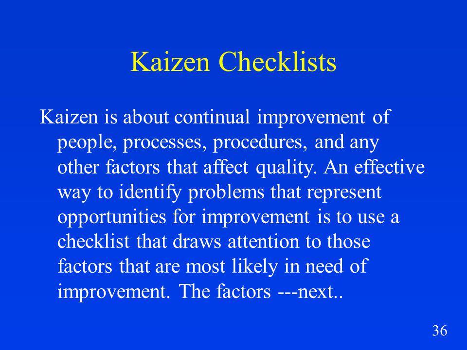 Kaizen Checklists