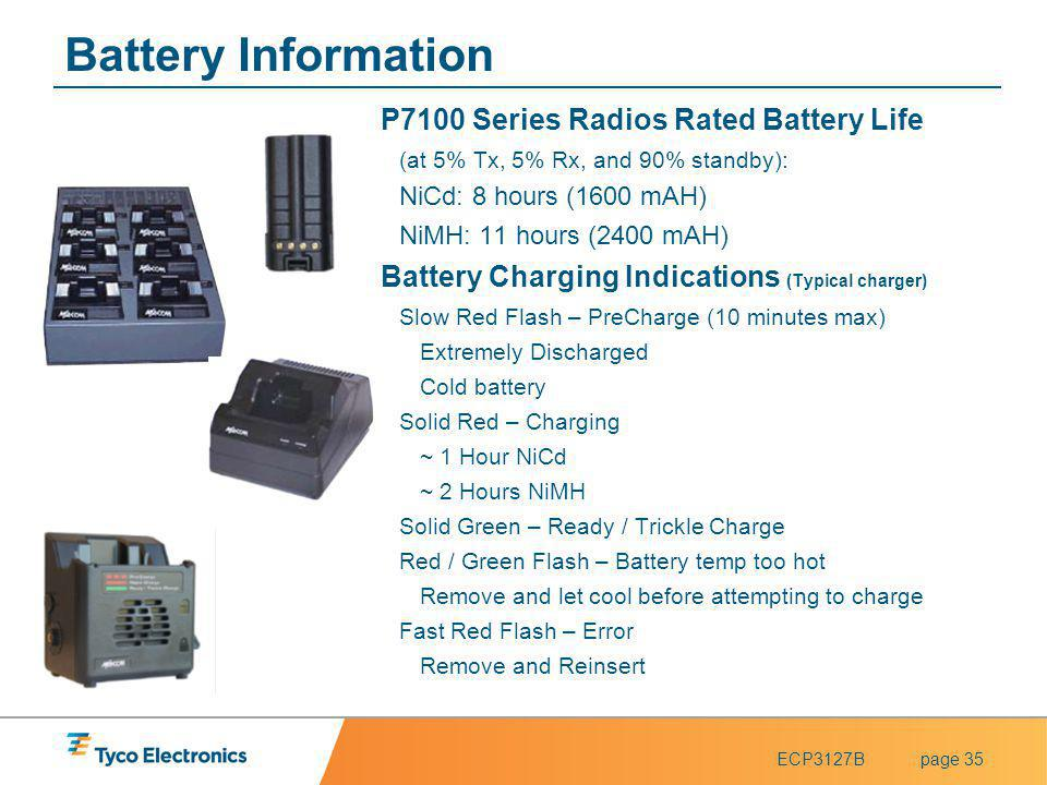 Battery Information P7100 Series Radios Rated Battery Life
