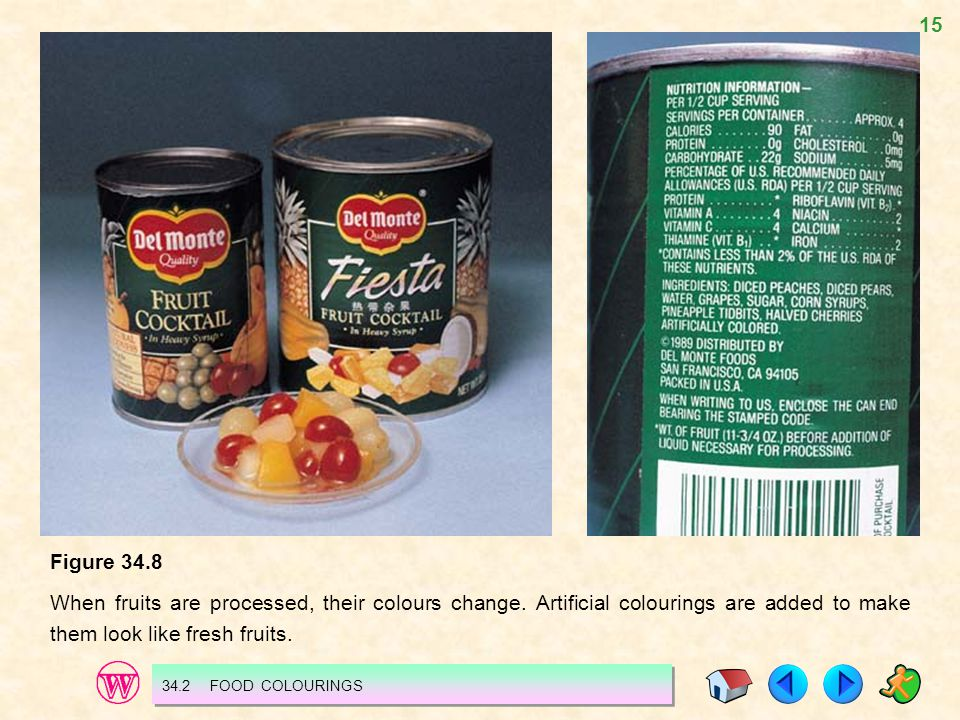 Figure 34.8 When fruits are processed, their colours change. Artificial colourings are added to make them look like fresh fruits.