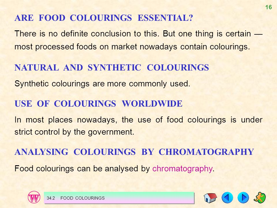ARE FOOD COLOURINGS ESSENTIAL