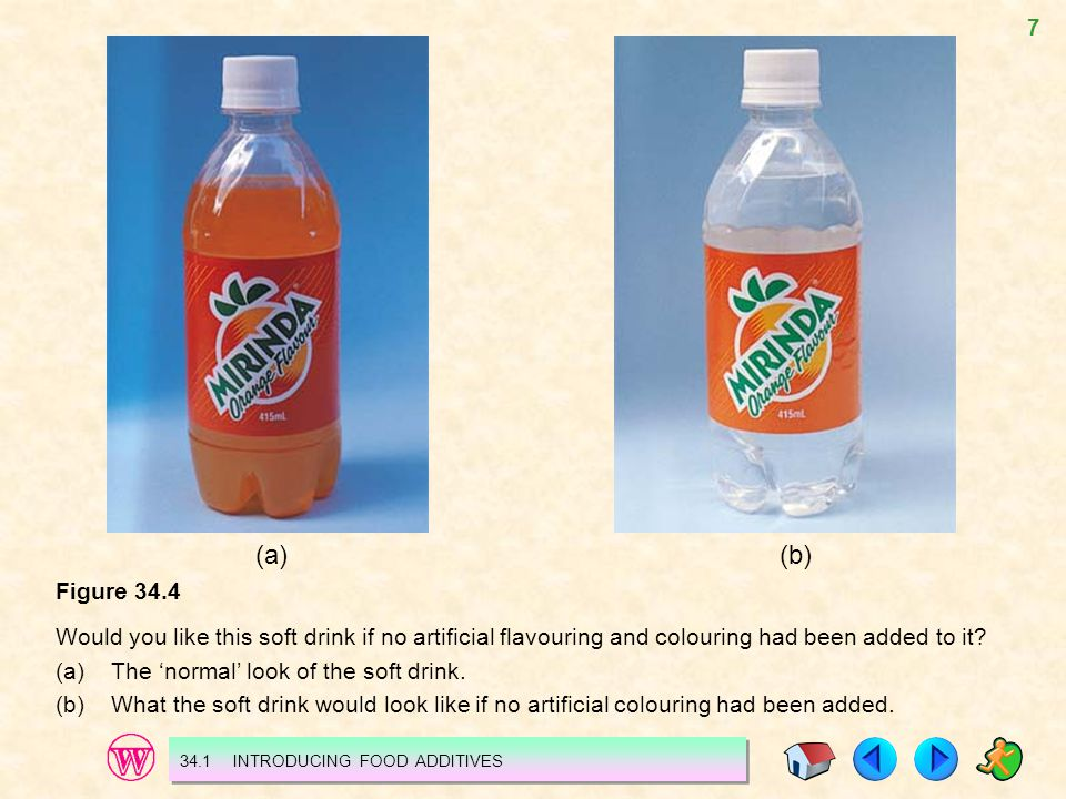 (a) (b) Figure 34.4. Would you like this soft drink if no artificial flavouring and colouring had been added to it