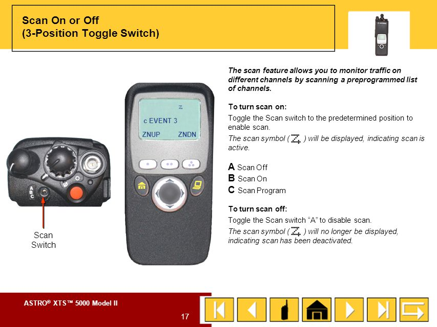 Scan On or Off (3-Position Toggle Switch)