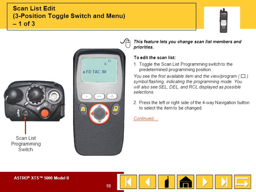 Scan List Edit (3-Position Toggle Switch and Menu) – 1 of 3