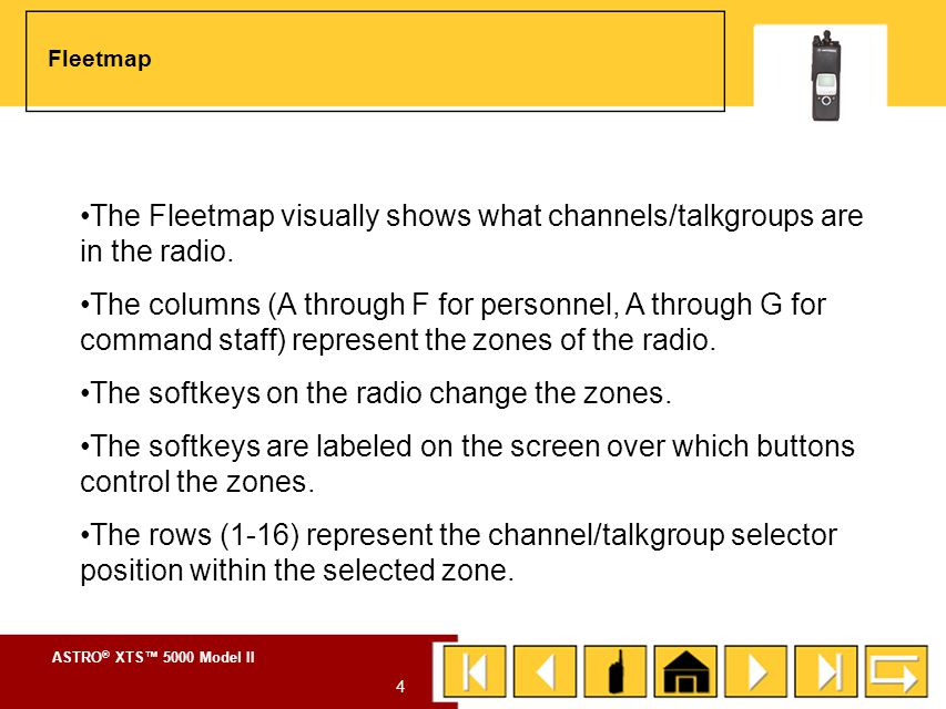 The Fleetmap visually shows what channels/talkgroups are in the radio.