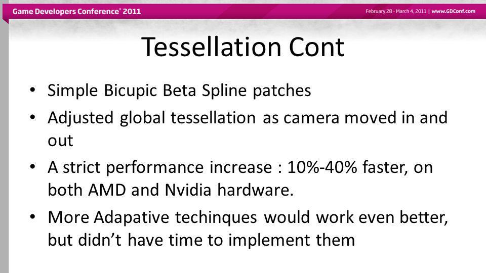 Tessellation Cont Simple Bicupic Beta Spline patches