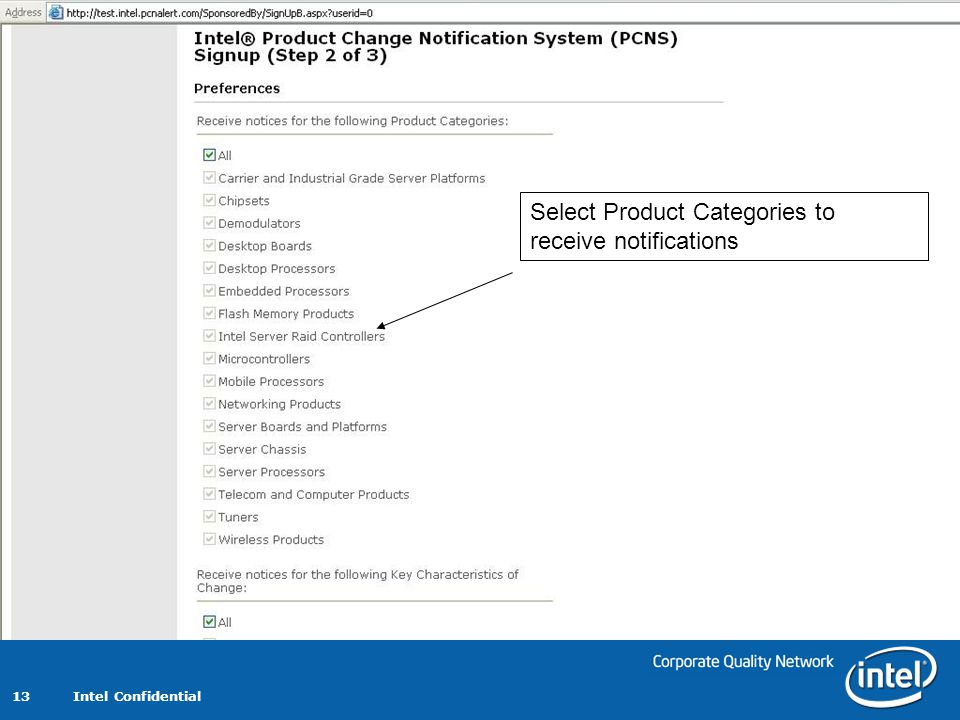Select Product Categories to receive notifications