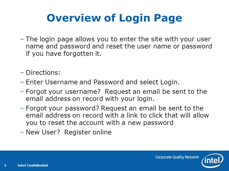 Overview of Login Page