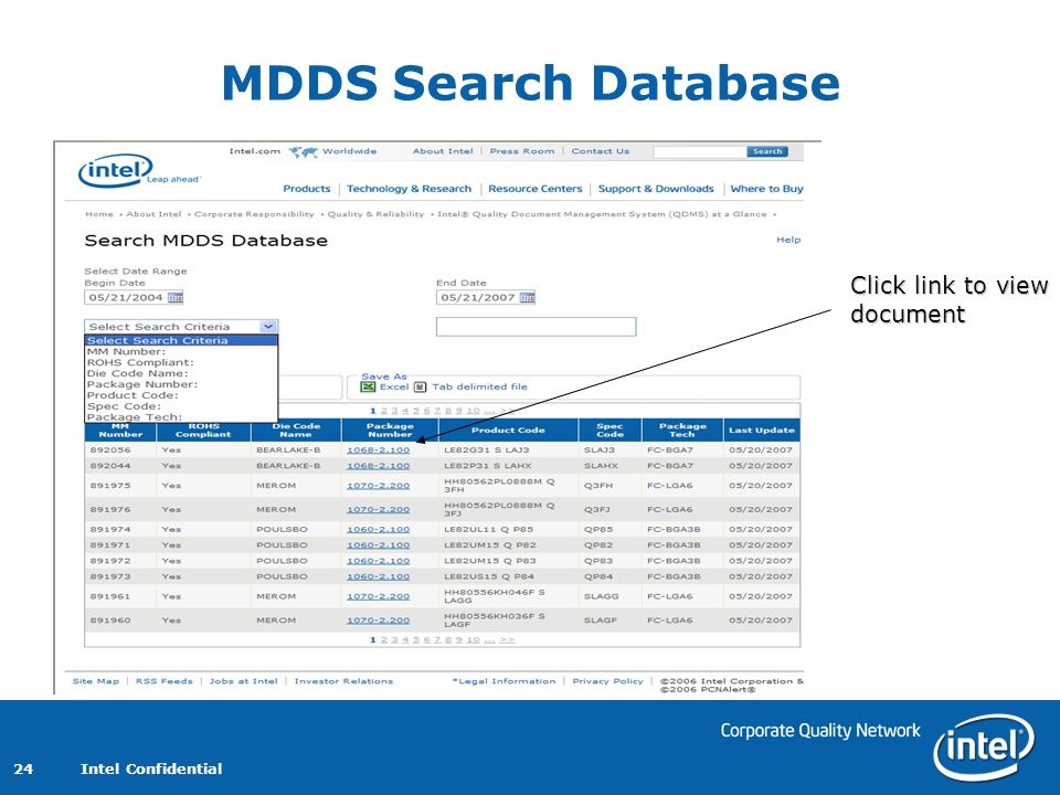 MDDS Search Database Click link to view document