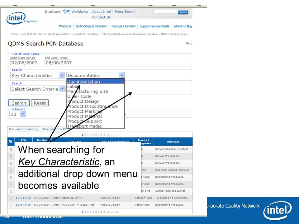 When searching for Key Characteristic, an additional drop down menu becomes available