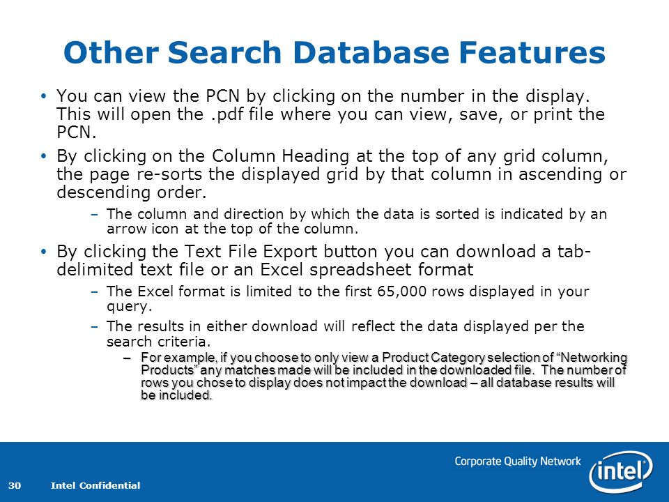 Other Search Database Features