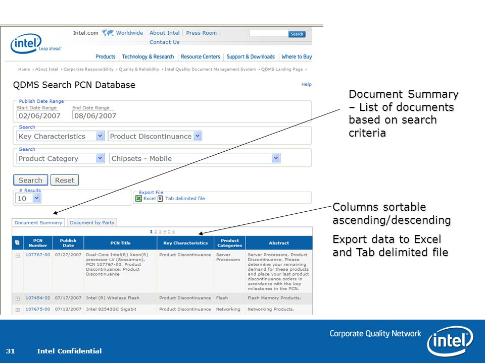 Document Summary – List of documents based on search criteria