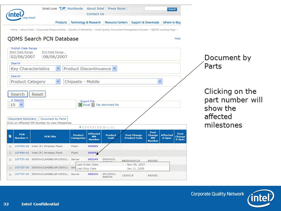 Document by Parts Clicking on the part number will show the affected milestones