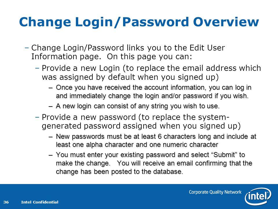 Change Login/Password Overview
