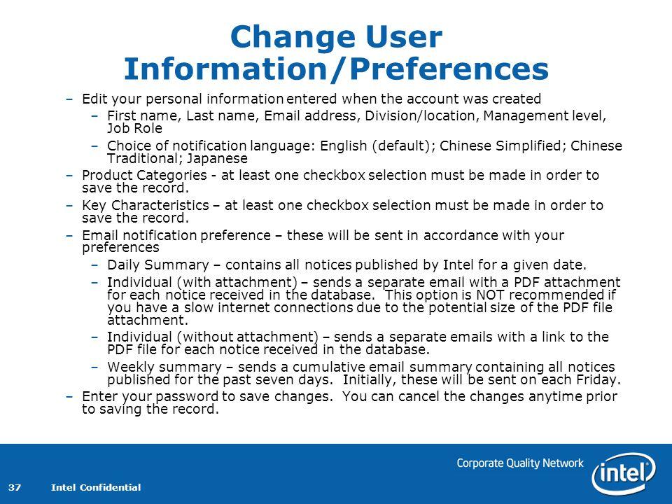 Change User Information/Preferences