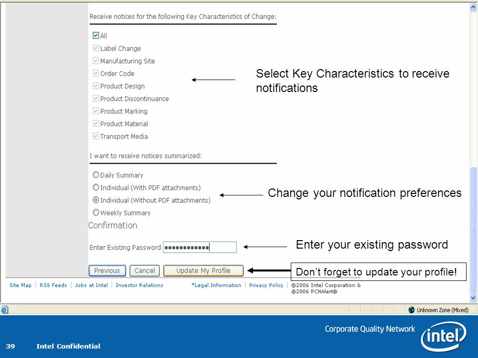 Select Key Characteristics to receive notifications