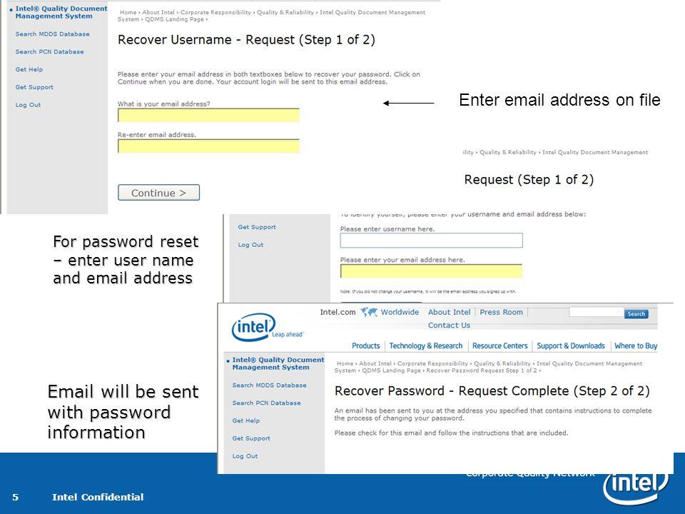 Enter email address on file