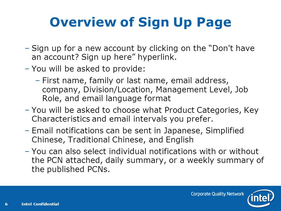 Overview of Sign Up Page