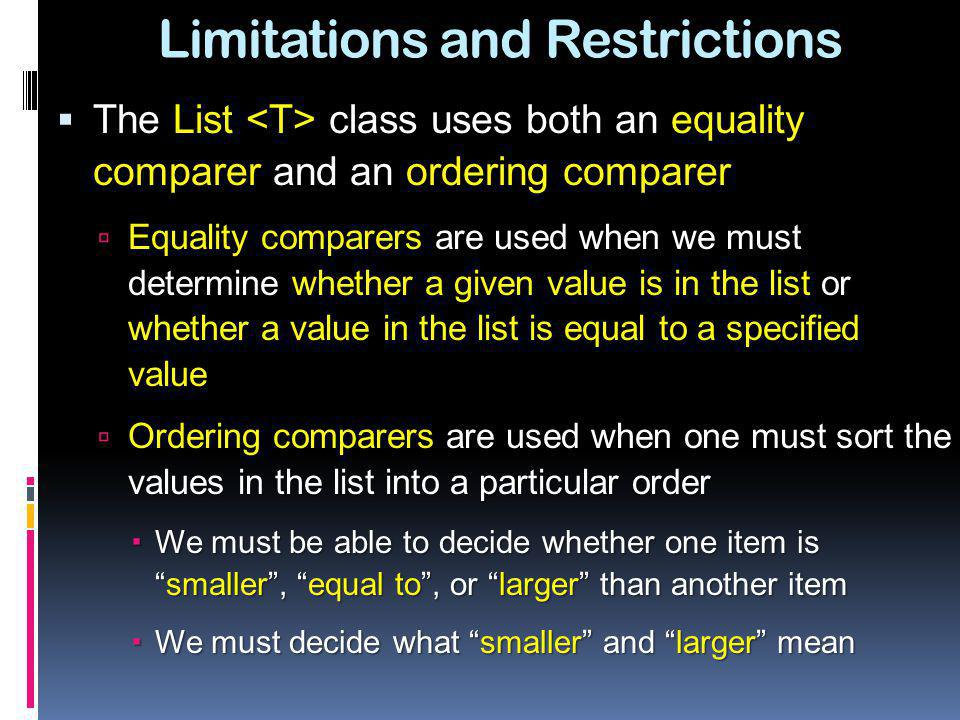Limitations and Restrictions
