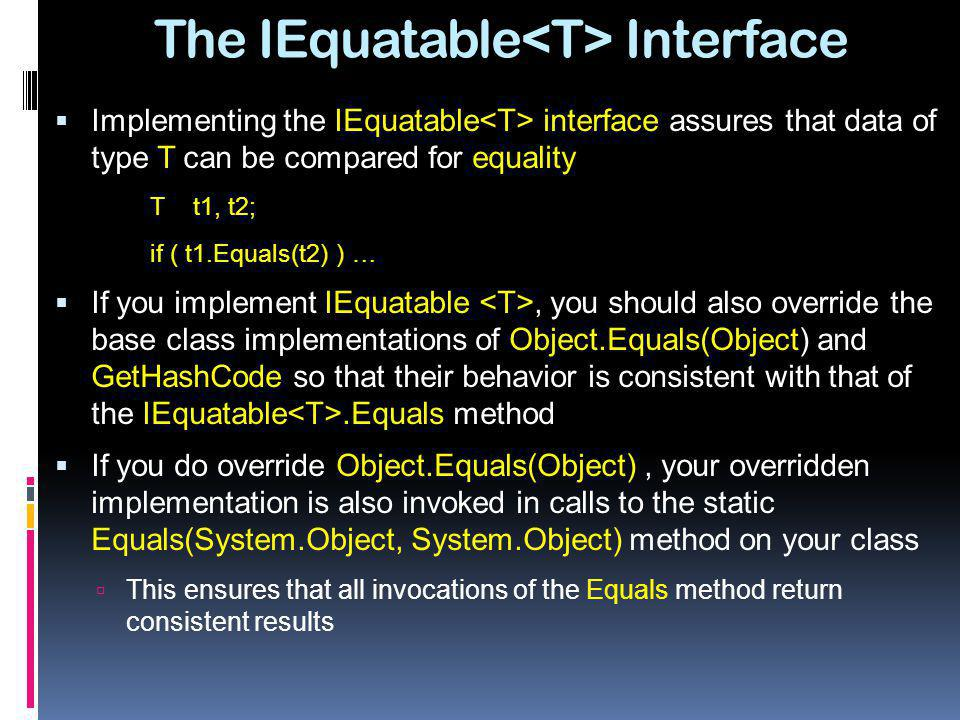 The IEquatable<T> Interface