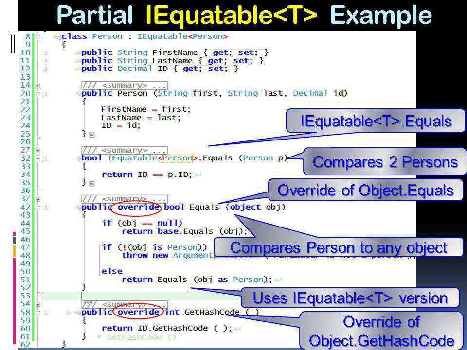 Partial IEquatable<T> Example