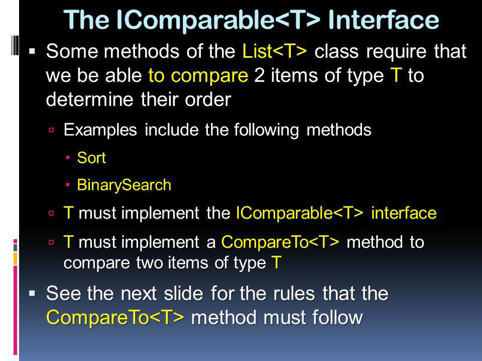 The IComparable<T> Interface