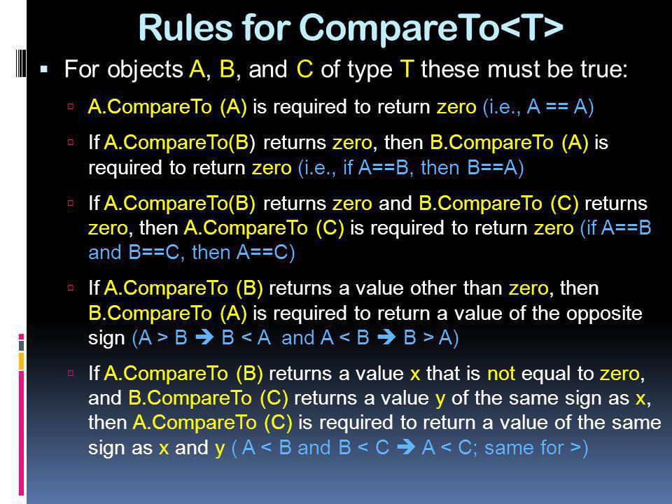 Rules for CompareTo<T>