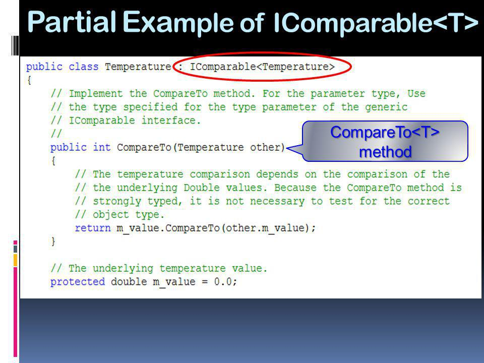 Partial Example of IComparable<T>