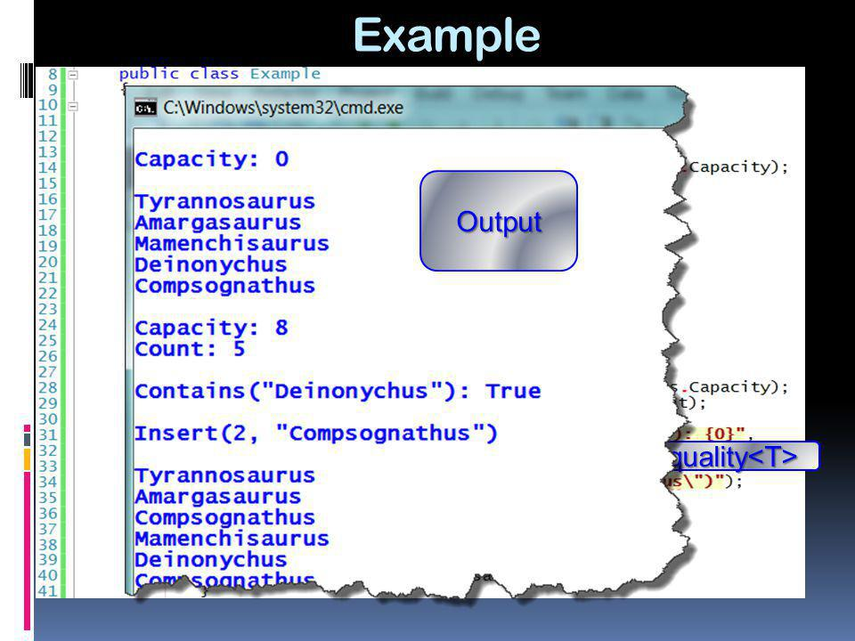Example Output IEquality<T>