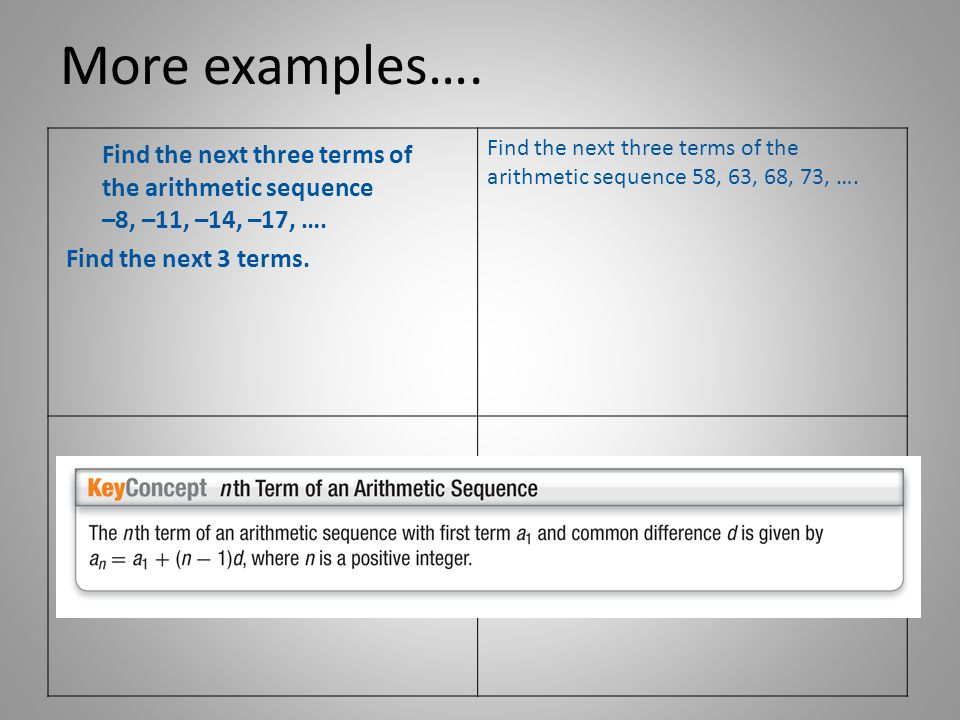 More examples…. Find the next three terms of the arithmetic sequence 58, 63, 68, 73, ….