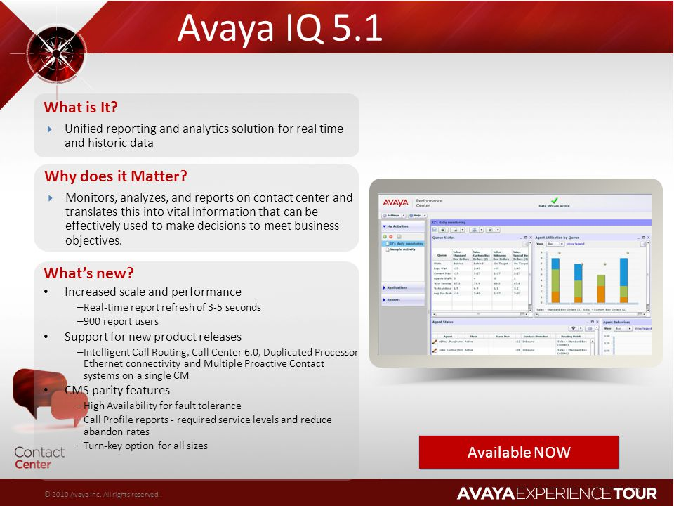 Avaya IQ 5.1 What is It Why does it Matter What's new Available NOW