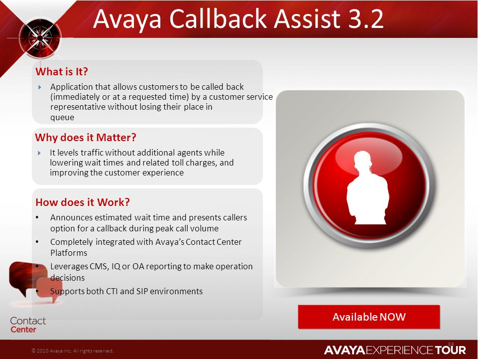 Avaya Callback Assist 3.2 What is It Why does it Matter