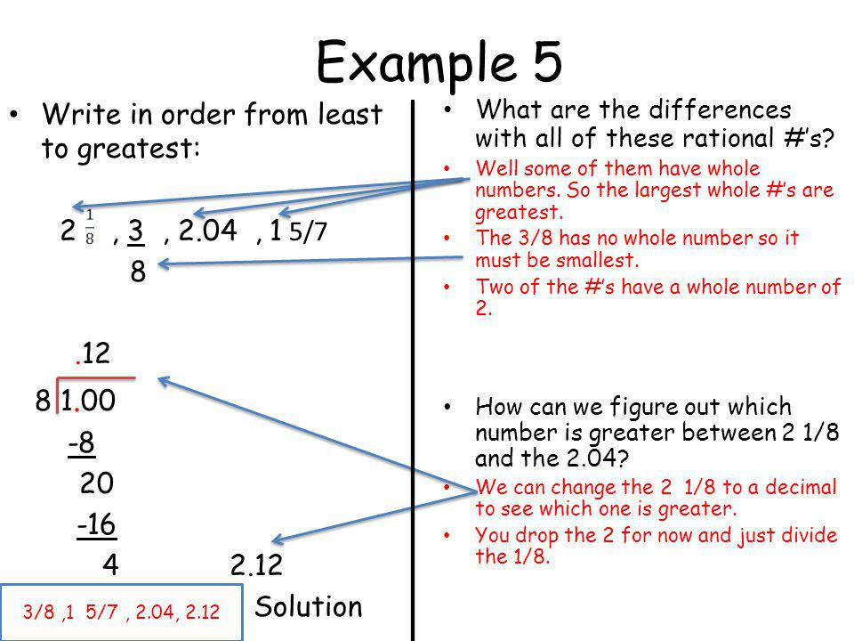 Example 5 Write in order from least to greatest: 2 , 3 , 2.04 , 1 5/7