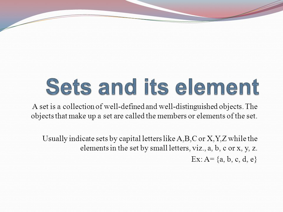 Sets and its element