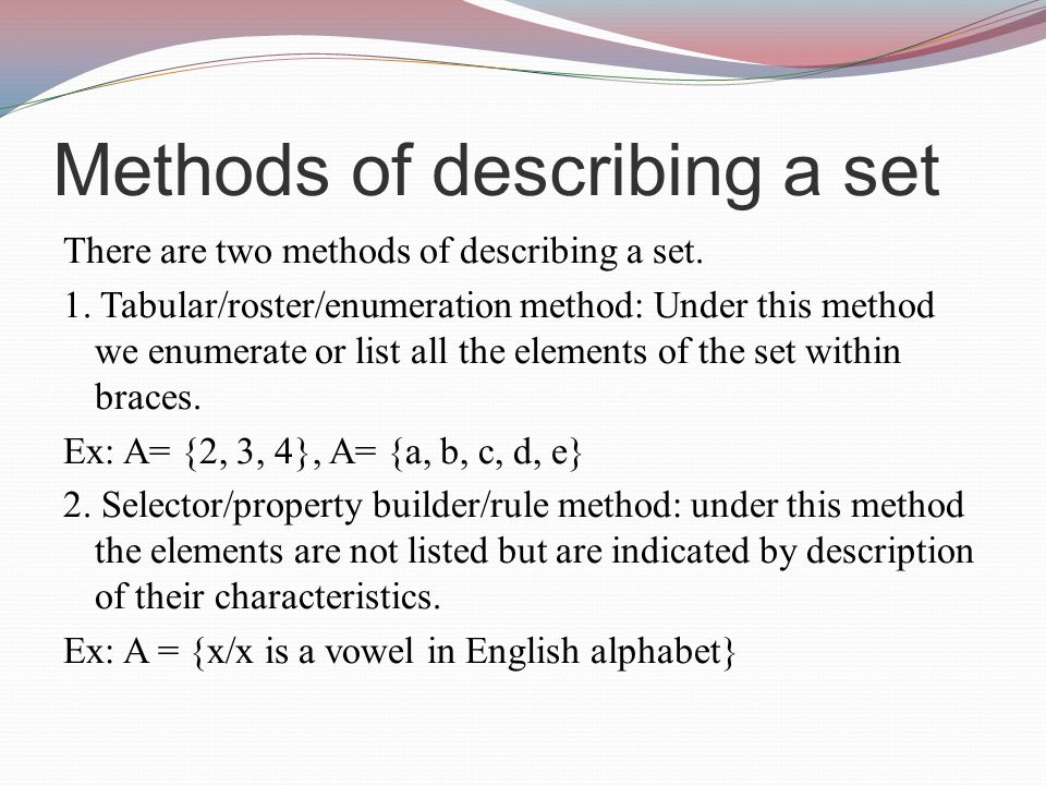 Methods of describing a set