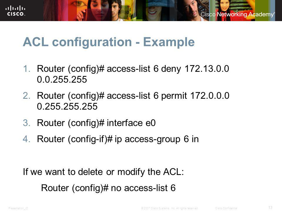 ACL configuration - Example