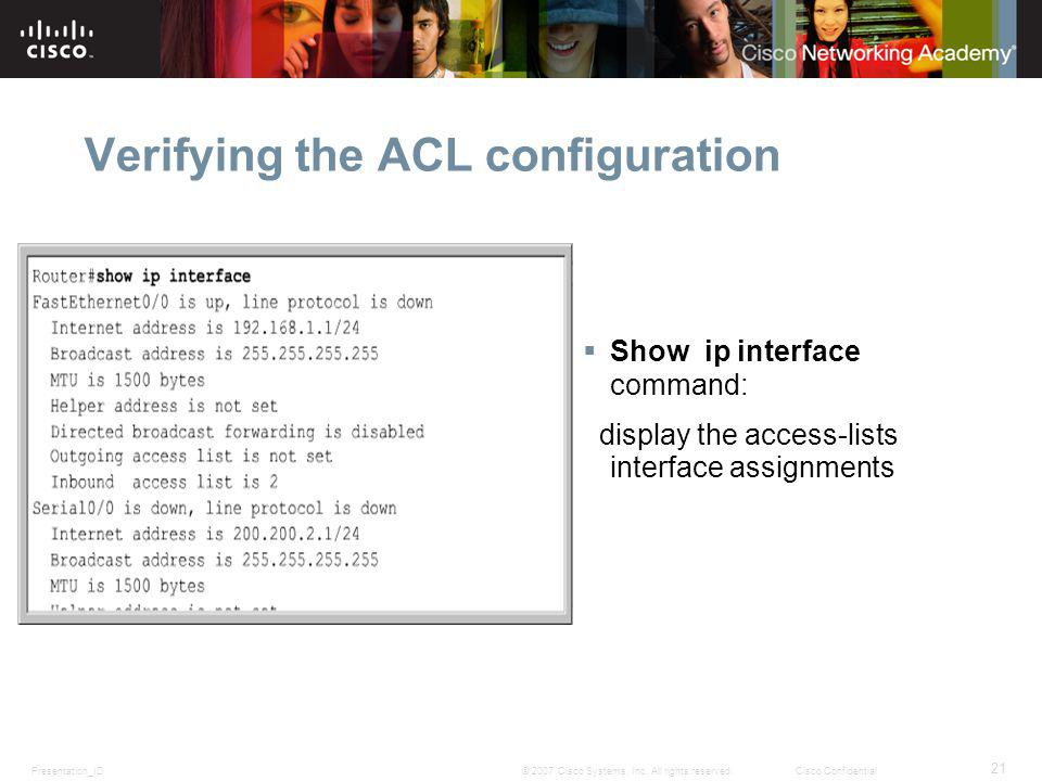 Verifying the ACL configuration
