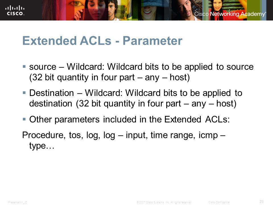 Extended ACLs - Parameter