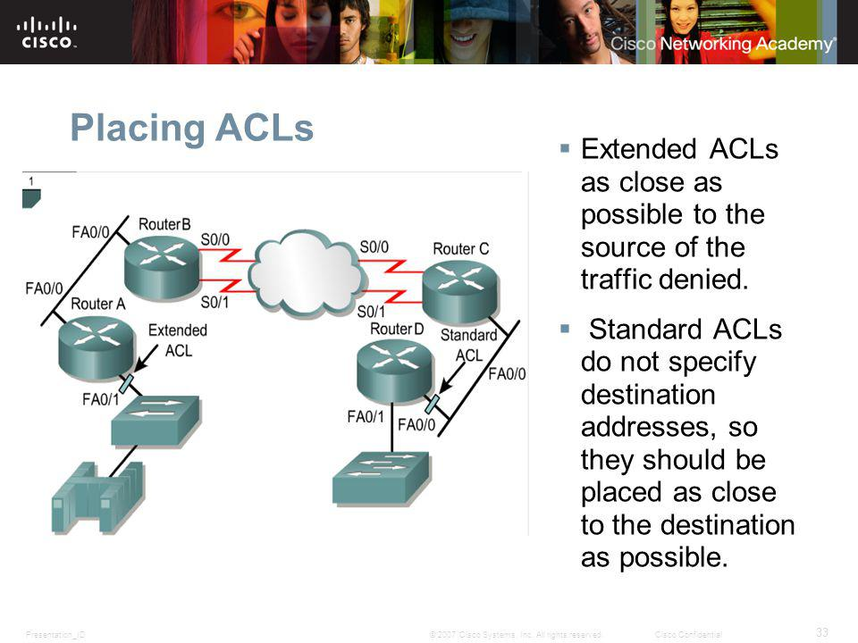 Placing ACLs Extended ACLs as close as possible to the source of the traffic denied.