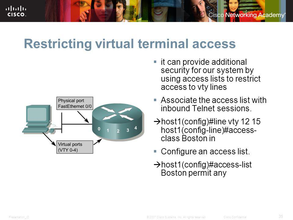 Restricting virtual terminal access