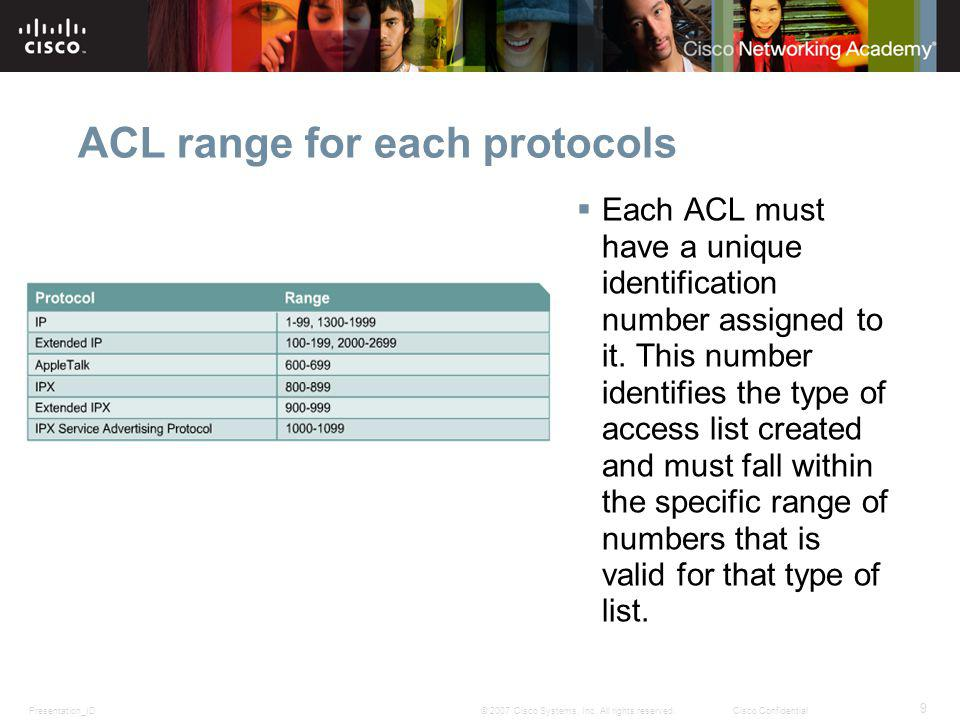 ACL range for each protocols