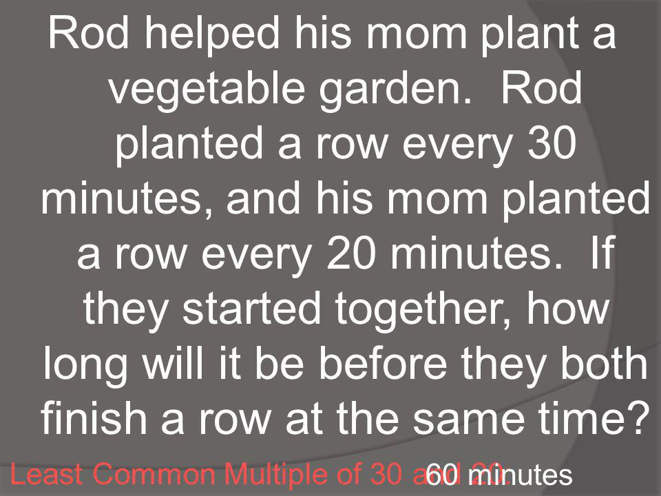 Rod helped his mom plant a vegetable garden