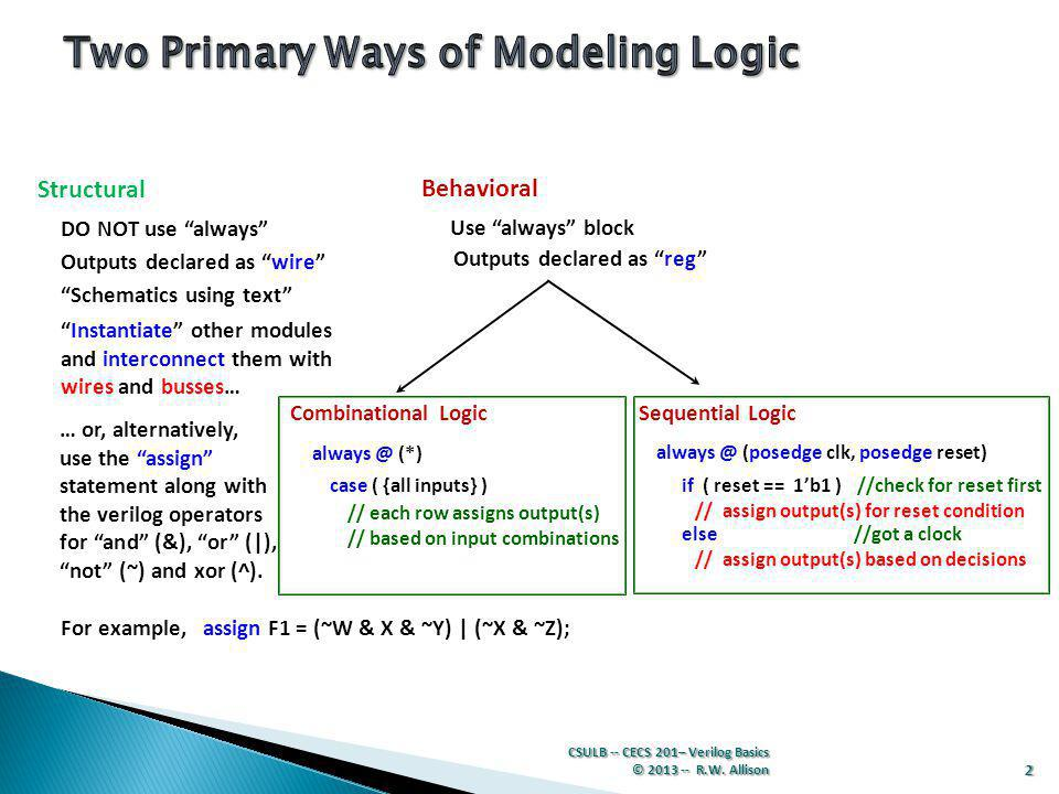 Two Primary Ways of Modeling Logic