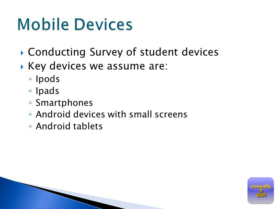 Mobile Devices Conducting Survey of student devices