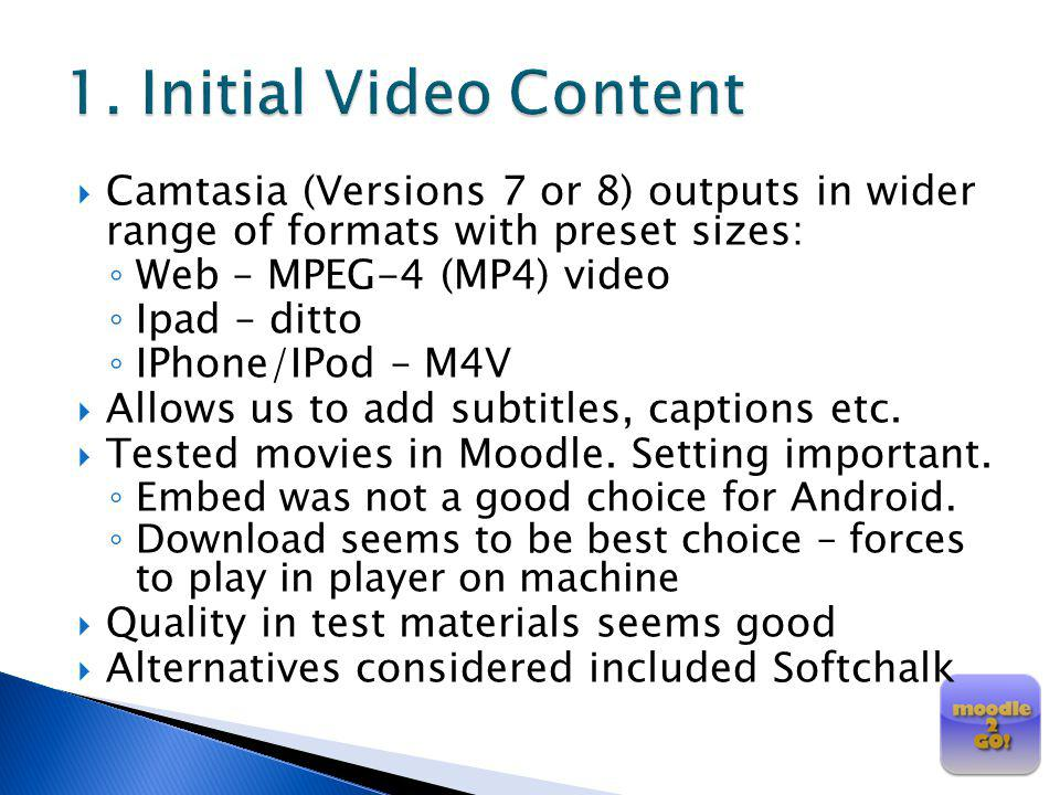 1. Initial Video Content Camtasia (Versions 7 or 8) outputs in wider range of formats with preset sizes: