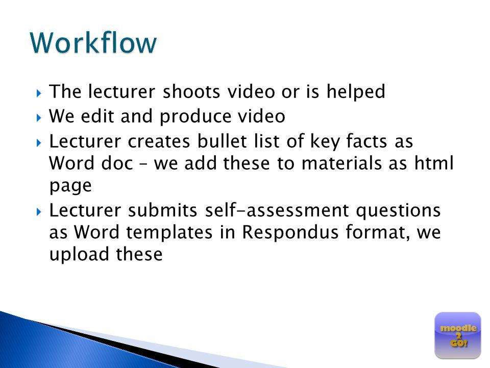 Workflow The lecturer shoots video or is helped