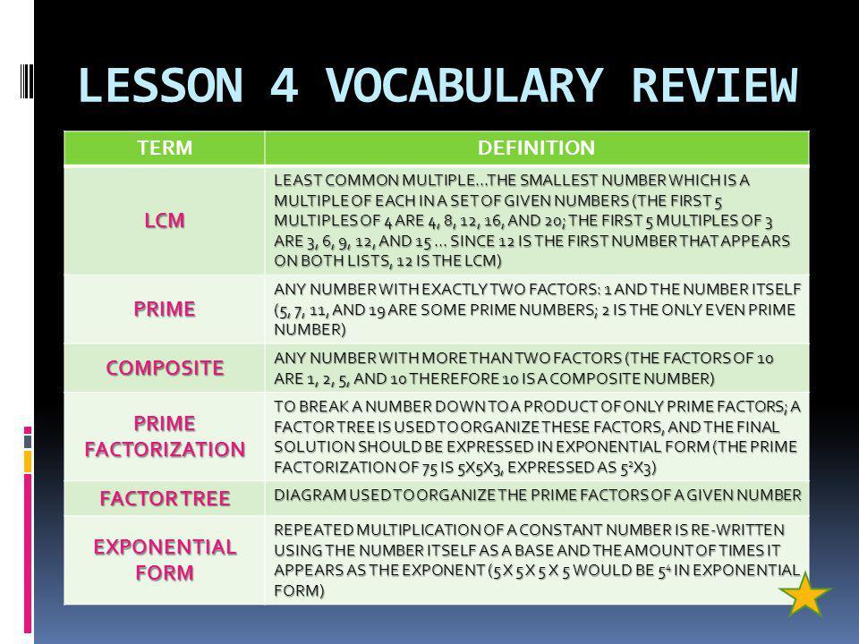 LESSON 4 VOCABULARY REVIEW
