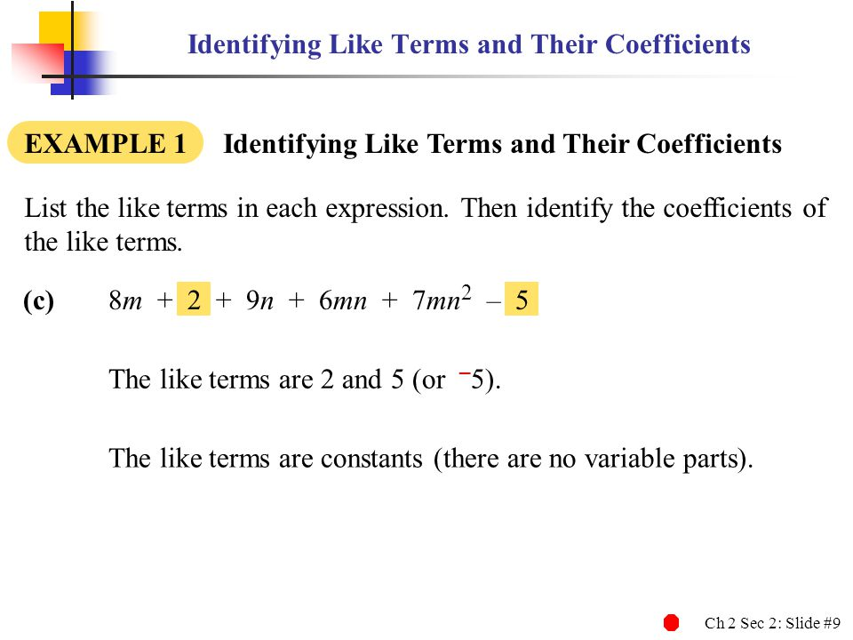 Identifying Like Terms and Their Coefficients